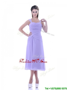 Fashionable Lavender Empire Square Bridesmaid Dress in Tea Length