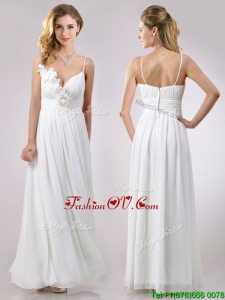 Popular Spaghetti Straps Applique and Ruched Bridesmaid Dress in White