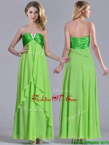2016 Pretty Beaded Decorated V Neck Spring Green Bridesmaid Dress in Ankle Length