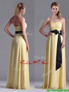 Beautiful Sweetheart Yellow Bridesmaid Dress with Ruching and Black Bowknot