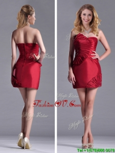 Best Selling Column Wine Red Bridesmaid Dress with Asymmetrical Neckline