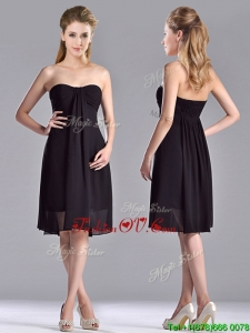Cheap Empire Knee Length Black Bridesmaid Dress in Chiffon