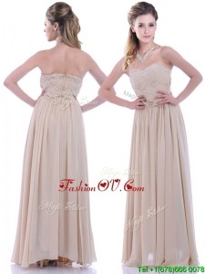Fashionable Empire Champagne Chiffon Bridesmaid Dress with Beading and Ruching
