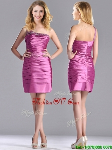 Popular Column Taffeta Bridesmaid Dress Beaded Decorated One Shoulder
