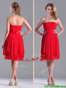 The Super Hot Strapless Empire Chiffon Ruched Bridesmaid Dress in Red