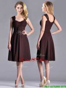 Best Selling Empire Ruched Brown Vintage Prom Dress with Wide Straps