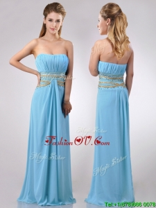 Discount Beaded Decorated Waist and Ruched Bodice Vintage Prom Dress in Aqua Blue