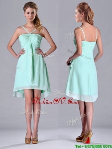 Empire Straps Apple Green Ruching Short Bridesmaid Dress in Chiffon