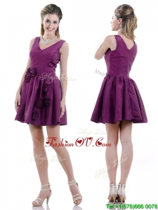 Exquisite V Neck Taffeta Purple Vintage Prom Dress with Handcrafted Flowers