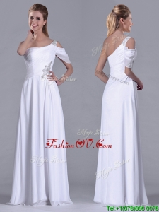 Fashionable Empire One Shoulder Beaded White Long White Bridesmaid Dress for Holiday