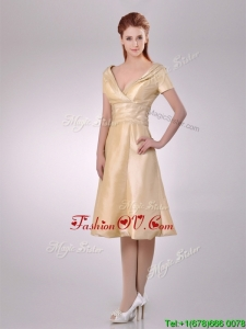 Hot Sale V Neck Champagne Tea Length Prom Dress with Short Sleeves