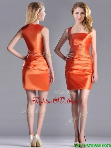 Lovely Column Square Side Zipper Short Vintage Prom Dress in Orange Red