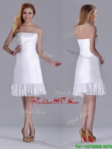 Low Price Strapless White Short Bridesmaid Dress in Lace and Satin