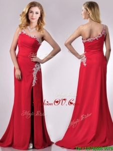 Luxurious Beaded Decorated One Shoulder and High Slit Vintage Prom Dress with Brush Train