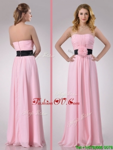 Modern Empire Chiffon Pink Long Bridesmaid Dress with Hand Crafted Flower