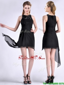 Modern Scoop Asymmetrical Black Chiffon Vintage Prom Dress with Beading