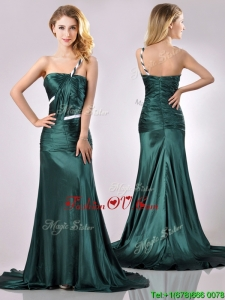 Modest One Shoulder Dark Green Vintage Prom Dress in Elastic Woven Satin