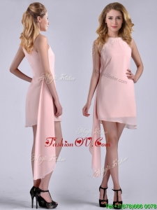 New Style Scoop Empire Chiffon Asymmetrical Vintage Prom Dress in Baby Pink