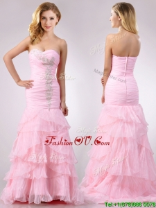 Popular Brush Train Organza Pink Vintage Prom Dress with Beading and Ruffles