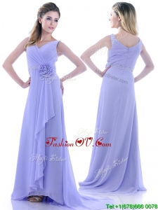 Brush Train Lavender Vintage Prom Dress with Beading and Hand Crafted Flower