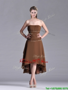 Exclusive Beaded Strapless High Low Brown Vintage Prom Dress in Chiffon