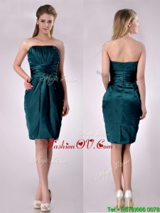 Exclusive Column Ruched Decorated Bodice Vintage Prom Dress in Hunter Green