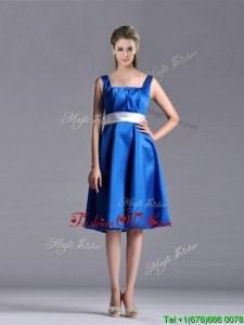Exquisite Empire Square Taffeta Blue Vintage Prom Dress with White Belt