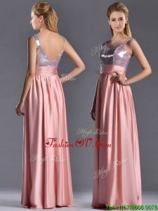 Lovely Empire Straps Zipper Up Peach Vintage Prom Dress with Sequins