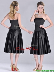Most Popular Zipper Up Strapless Black Vintage Prom Dress in Tea Length