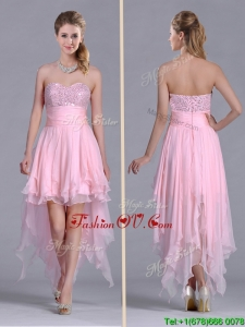 New Arrivals Beaded Bust High Low Chiffon Vintage Prom Dress in Baby Pink