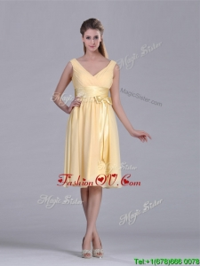 New Arrivals V Neck Bowknot Chiffon Short Vintage Prom Dress in Yellow