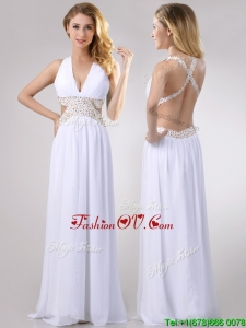 Beautiful Deep V Neckline Prom Dress with Beaded Decorated Criss Cross