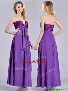 Cheap Beaded Decorated V Neck Chiffon Prom Dress in Eggplant Purple