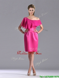 Latest Column One Shoulder Hot Pink Vintage Prom Dress with Zipper Up