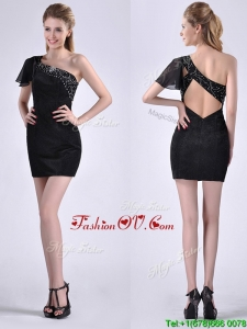 Best One Shoulder Black Prom Dress with Beaded Decorated Criss Cross