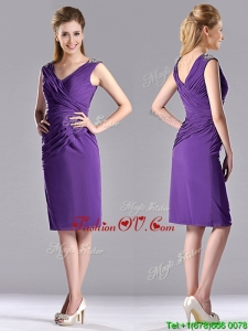 Cheap Column V Neck Knee-length Short Prom Dress in Purple