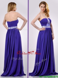 Empire Strapless Beaded Purple Long Prom Dress for Evening