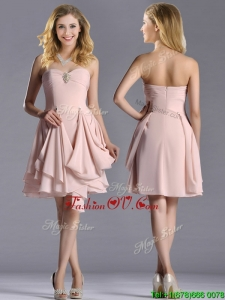 Exclusive Sweetheart Chiffon Beaded Prom Dress in Light Pink