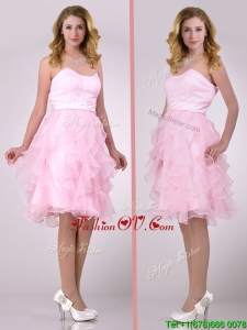 Lovely Empire Baby Pink Knee Length Prom Dress with Ruffles