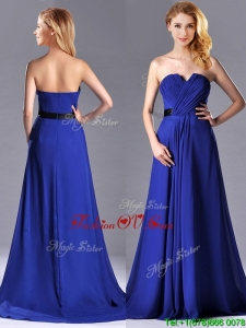 Luxurious Empire Chiffon Royal Blue Prom Dress with Brush Train