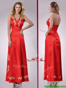 Modest Column Halter Top Backless Red Prom Dress with Appliques