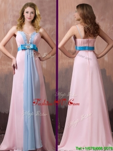 New Style Spaghetti Straps Beaded and Bowknot Prom Dress with Brush Train