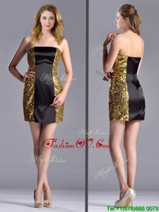 Popular Column Black and Gold Prom Dress in Sequins and Satin