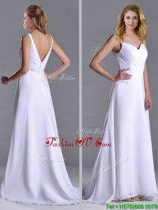 Popular Straps White Chiffon Prom Dress with Brush Train
