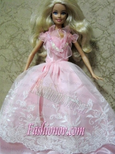 Amazing Pink Handmade Party Colothes Dress With Embroidery For Barbie Doll