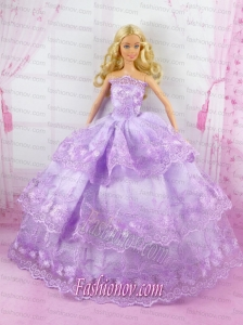 Beautiful Lilac Gown With Lace Dress For Noble Barbie