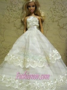 Beautiful Organza Embroidery White Barbie Doll Dress