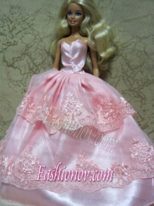 Beautiful Pink Handmade Dress With Lace Dress for Noble Barbie