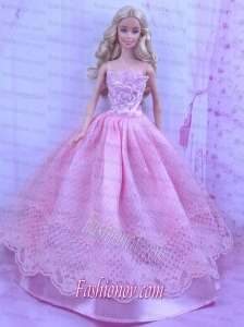Beautiful Pink Princess Dress With Lace Made To Fit the Barbie Doll