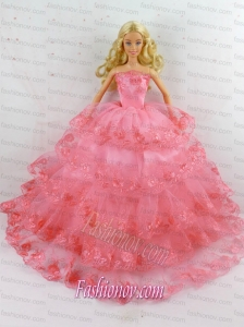 Elegant Handmade Gown With Ruffled Layers and Embroidery Made To Fit the Barbie Doll